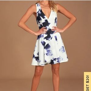 Lulus Seeing Chic Blue and Ivory Print Dress